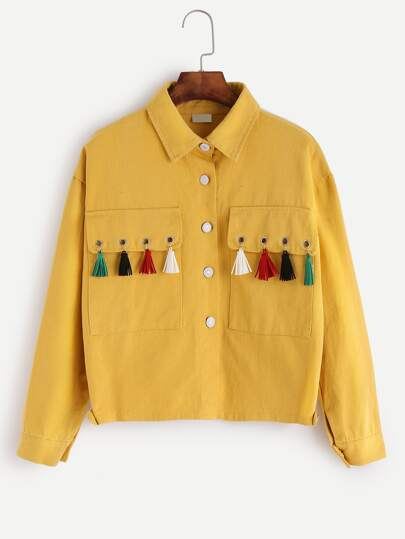 Yellow Eyelet Fringe Trim Jacket
