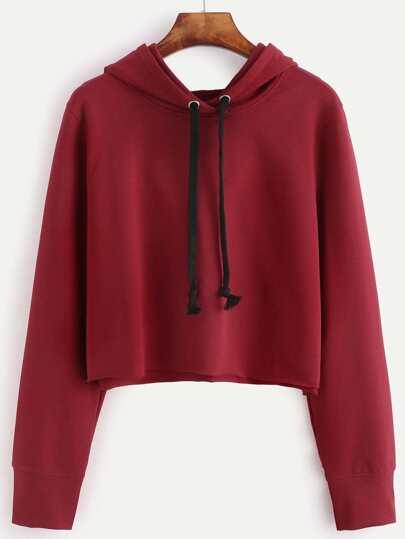 Red Raw Hem Crop Hooded Sweatshirt
