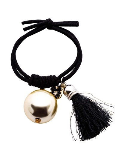 Black Metal Ball Tassel Hair Tie