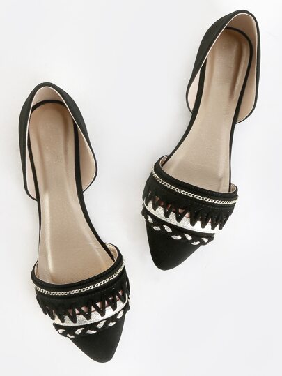 Metallic Accent Pointed Toe Flats BLACK
