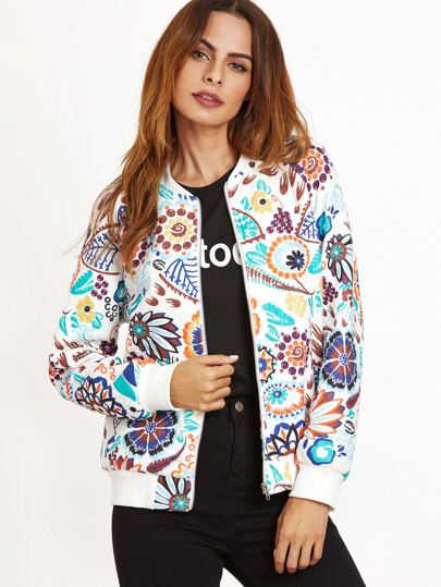 Multicolor Abstract Floral Print Bomber Jacket