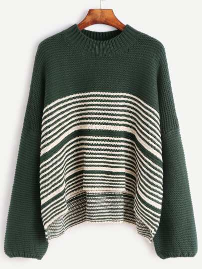 Green Contrast Striped Drop Shoulder Sweater