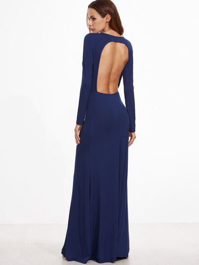 Vestido maxi de manga larga con espalda descubierta - azul marino