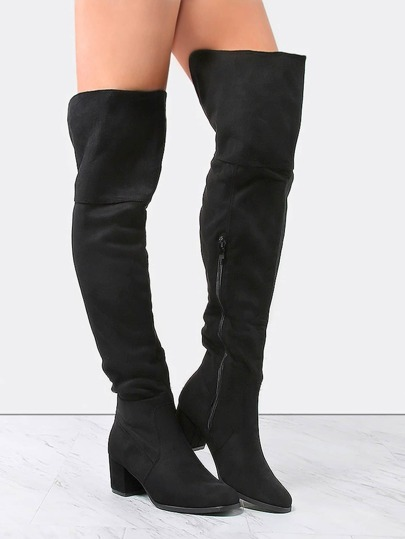 Faux Suede Block Heel Boots BLACK