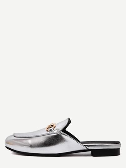 Chaussons plates en similicuir - argenté