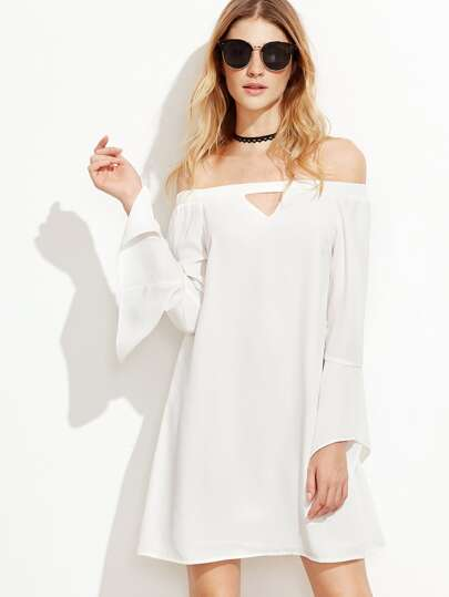 White Keyhole Front Bell Sleeve Off The Shoulder Dress