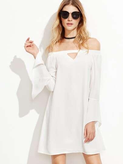 Keyhole Front Bell Sleeve Bardot Dress