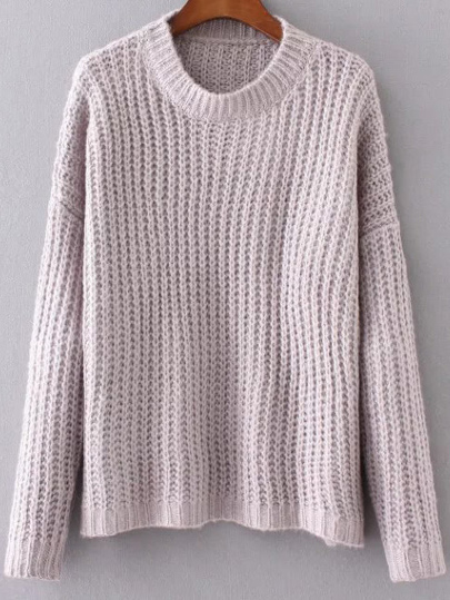 Purple Round Neck Drop Shoulder Sweater