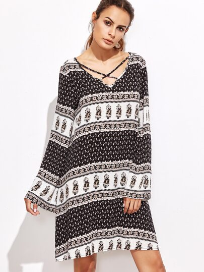 Contrast Ornate Print Crisscross V Neck Dress