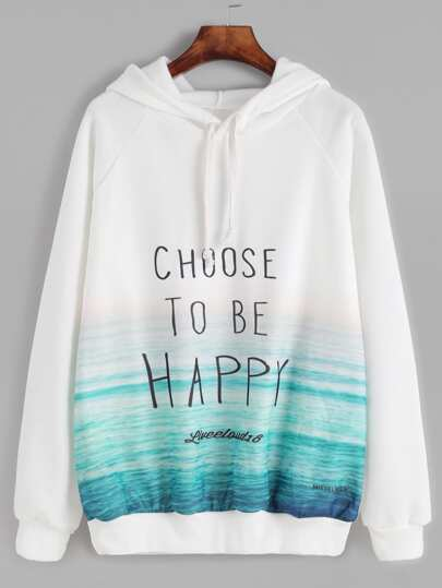 White Slogan Print Raglan Sleeve Hooded Sweatshirt
