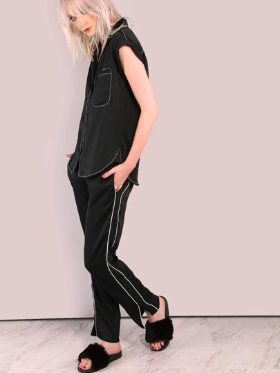 Contrasting Trim Lightweight Trouser Pants BLACK