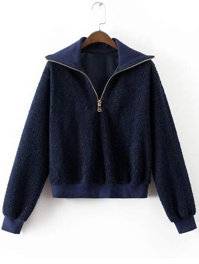 Sweat-shirt col avec zip - bleu marine