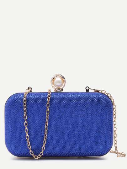 Blue PU Faux Pearl Crossbody Chain Bag