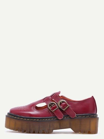 Burgundy PU T Strap Rubber Sole Flatform Shoes