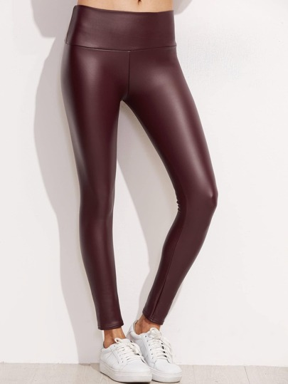 Leggings en similicuir - bordeaux