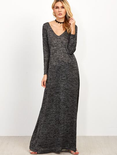 Vestido maxi con escote V - gris