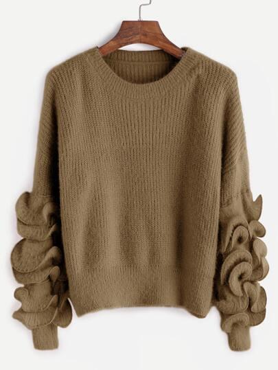 Khaki Drop Shoulder Ruffle Trim Fuzzy Sweater