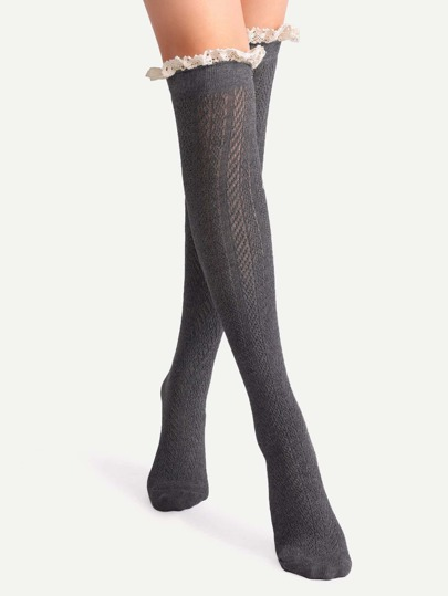 Grey Lace Trim Textured Over The Knee Socks
