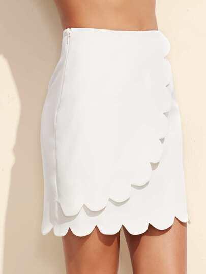 White Zipper Side Scalloped Hem Skirt