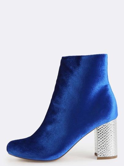 Smooth Velvet Chunky Heel Boots BLUE