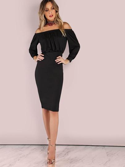 Off the Shoulder Backless Bishop Sleeve Midi Dress BLACK