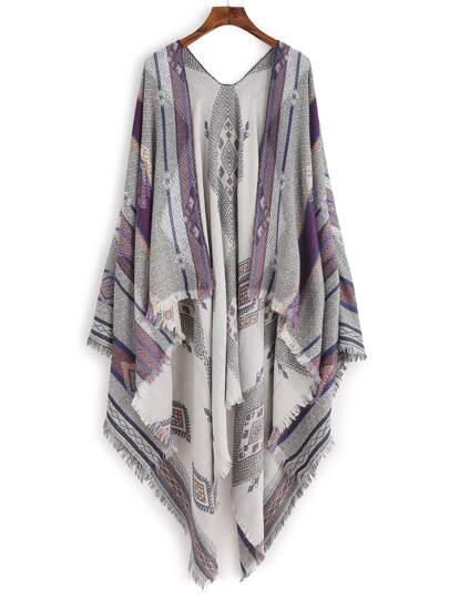 Серый модный шарф шалью с принтом тона