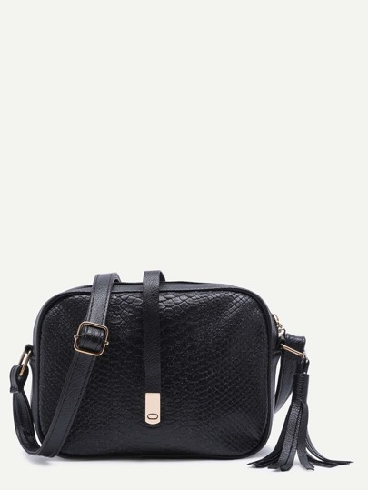 Black Snakeskin Leather Tassel Crossbody Bag
