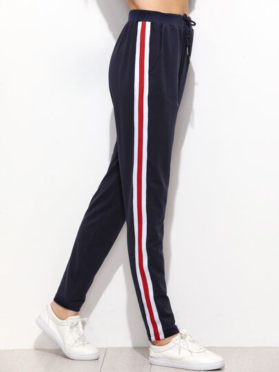 Navy Striped Sideseam Drawstring Sweatpants