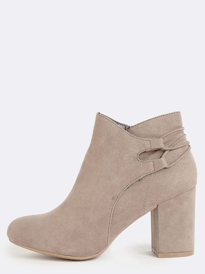 Open Toe Lace Up Suede Booties TAUPE