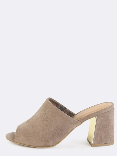 Chunky Block Heel Mules TAUPE