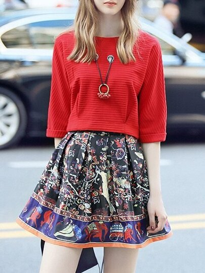 Red Sweater Top With Print Skirt