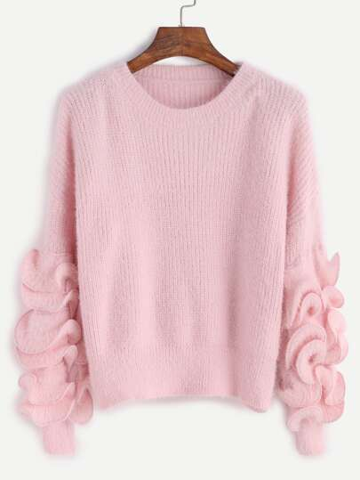 Pink Drop Shoulder Ruffle Trim Fuzzy Sweater