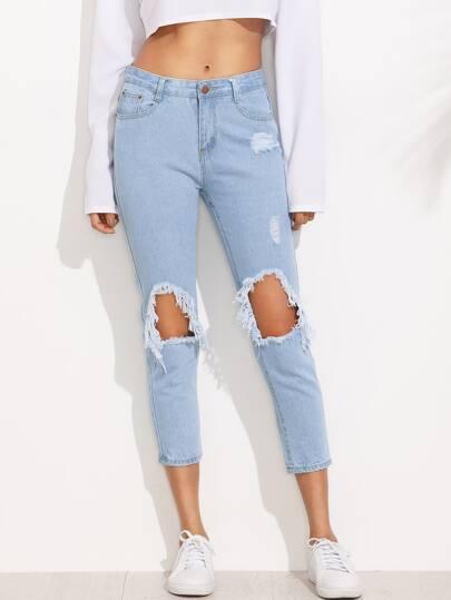 Hose mit Hohlem am Knee - blau