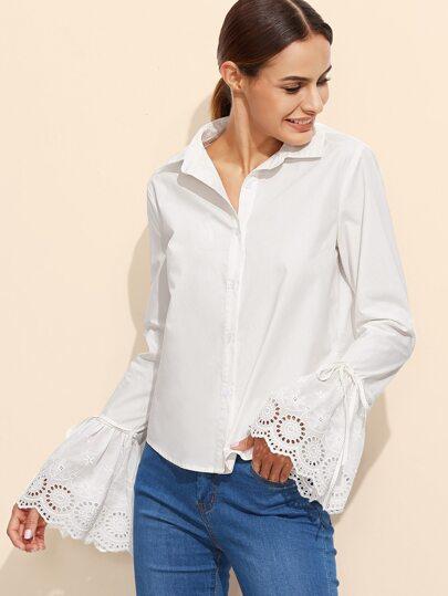 Blusa de manga acampanada - blanco