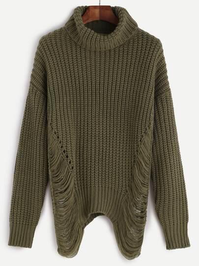 Olive Green Turtleneck Drop Shoulder Ripped Sweater