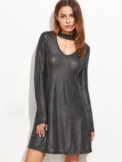 Black Cutout Choker Swing Sparkle Dress