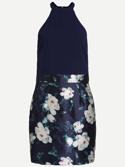 Navy Halter Floral Print Dress