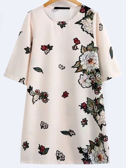 Beige Floral Print Half Sleeve Shift Dress