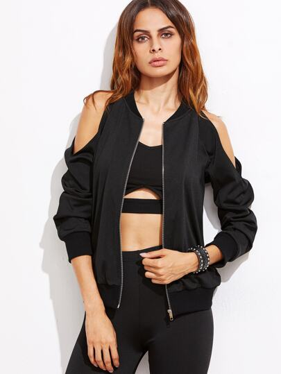 Black Cold Shoulder Zip Up Bomber Jacket