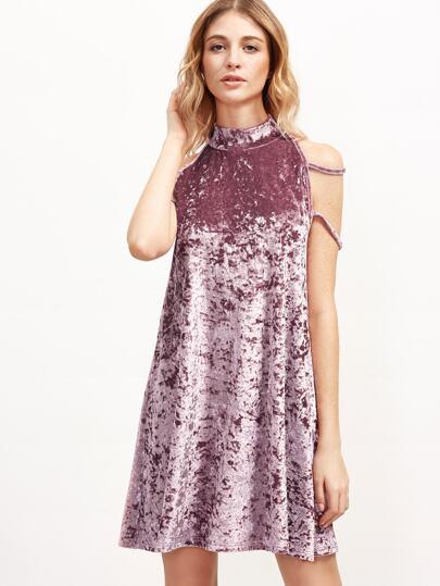 Samt Tank Kleid mit Hohem kragen-rosa