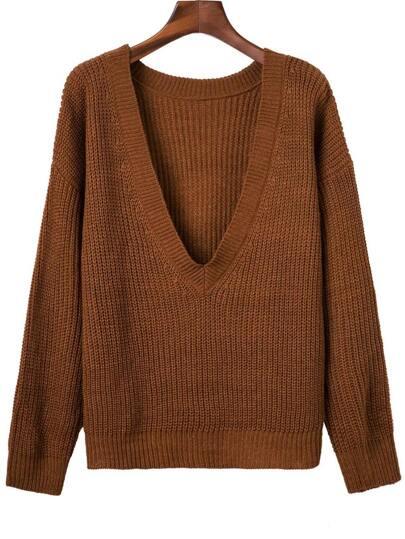 Brown Ribbed V Neck Drop Shoulder Sweater