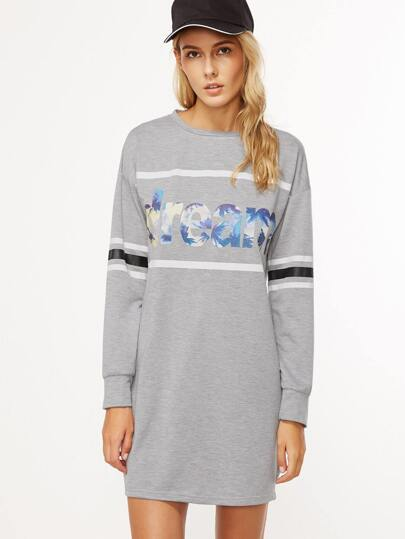 Heather Grey Letter Print Striped Sleeve Sweatshirt Dress