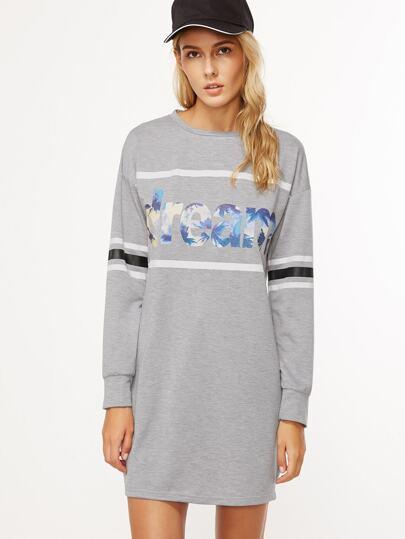 Robe sweat-shirt imprimé lettres manche à rayure - gris