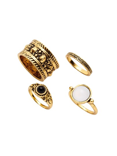 4PCS Antique Gold Plated Vintage Carved Ring Set