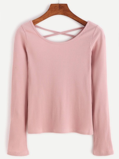 Pink Criss Cross Back Ribbed T-shirt