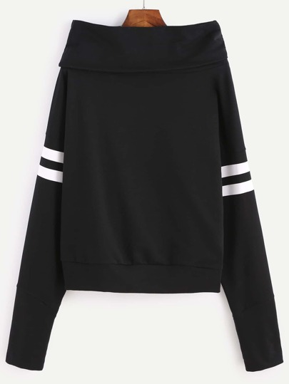 Black Cowl Neck Varsity Striped Sleeve Sweatshirt