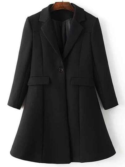 Black Lapel Single Button Longline Coat