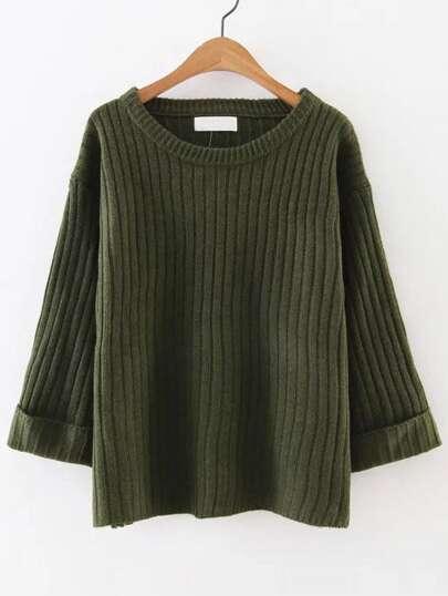 Pull tricoté à nervures poignet enroulé - vert armée