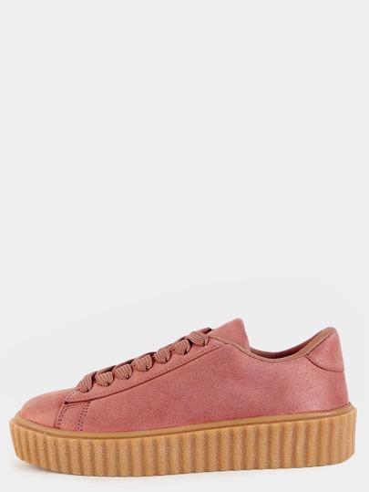 Zapatillas deportivas de ante con cordón - rosa