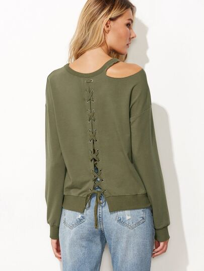 Army Green Cut Out Eyelet Lace Up Back Sweatshirt